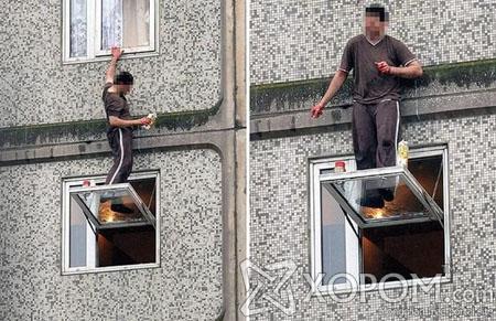 Англи улсад нэгэн галзуу этгээд 6 давхрын цонхон дээр 2 цаг үймүүлжээ