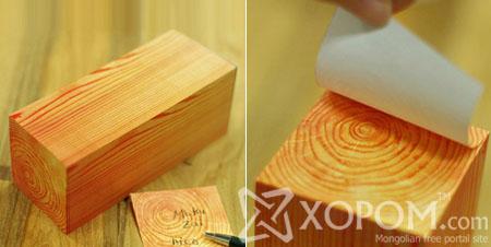 Бяцхан дөрвөлжин мод хэлбэртэй наадаг тэмдэглэлийн цаас