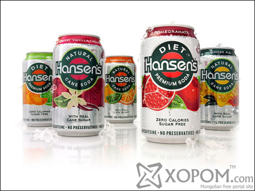 Hansens Natural and Diet Sodas Aluminum Based Package Design